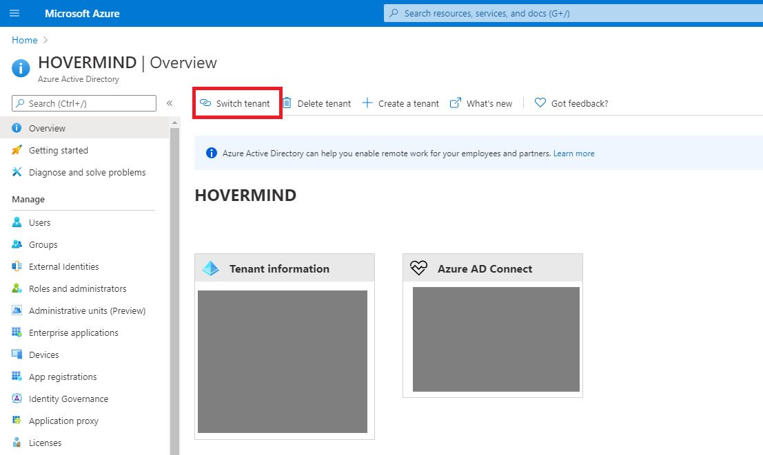 Switch Azure AD tenant and create user Step 1
